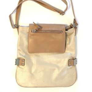 ANA gold fabric and tan faux leather bag